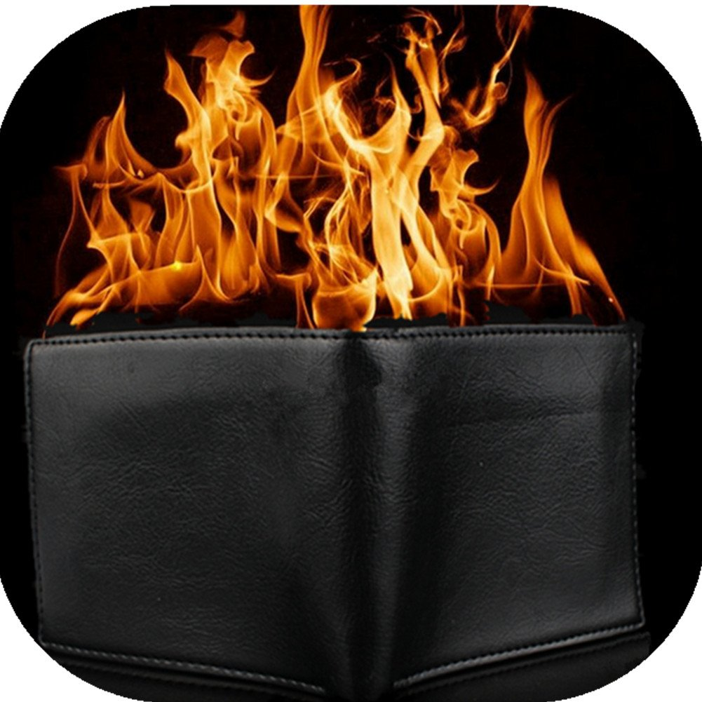 KKTech Magic Flaming Fire Wallet Magician Stage Street Inconceivable Show Prop-New Design