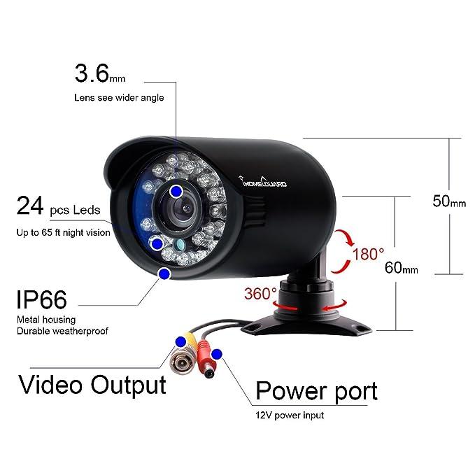 Amazon.com : Camara De Seguridad Para Casas Profesionales Vision Noche DVR Afuera 6 Pck Impermeable : Camera & Photo