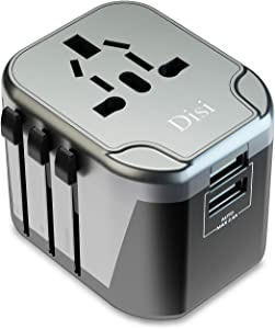 Disi Travel Adapter Black Smart Universal 2 USB in One International Power Adapter for High Power Appliances for US, UK, EU, AU Over 200 Countries (Black)