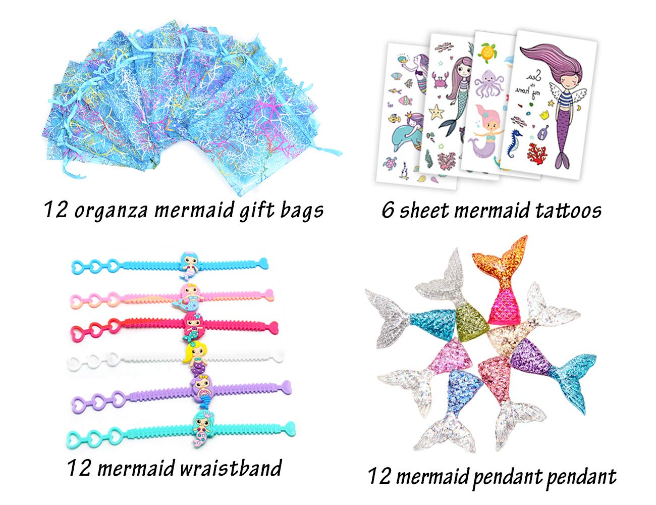 LUCK COLLECTION Mermaid Party Favors Girls Mermaid Tail Pendant Wristband Tattoos Kit