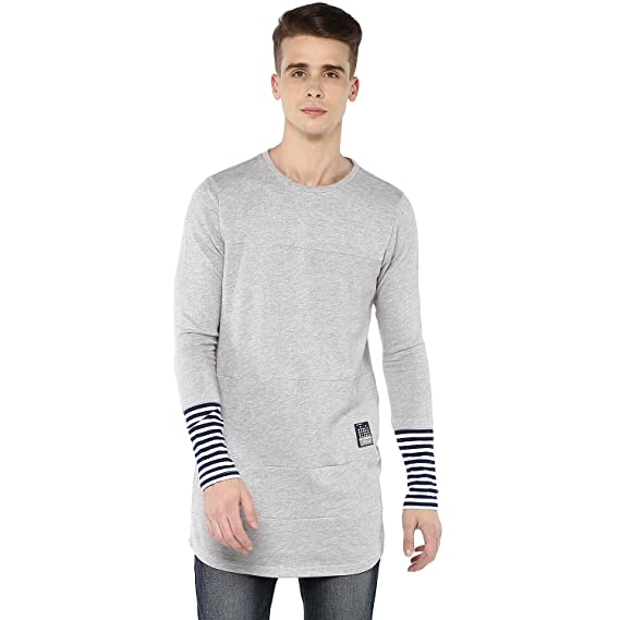 dd20aed90b8 Atorse Mens Full sleeve longline casual tee with multi cut n sew of same  fabric  Amazon.in  Clothing   Accessories