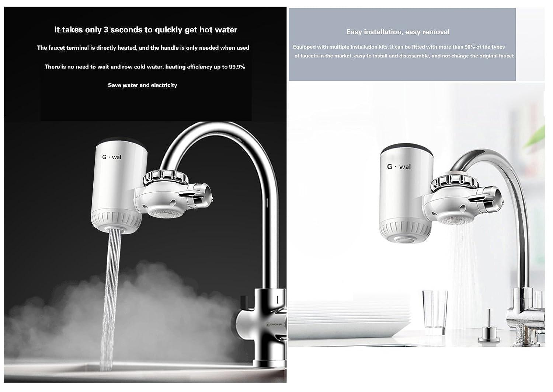 TAVA LAX rápida eléctrica - Calentador de agua LED indicador de temperatura calefacción Agua grifo para cocina y baño & pequeño calentador & & Hervidora ...