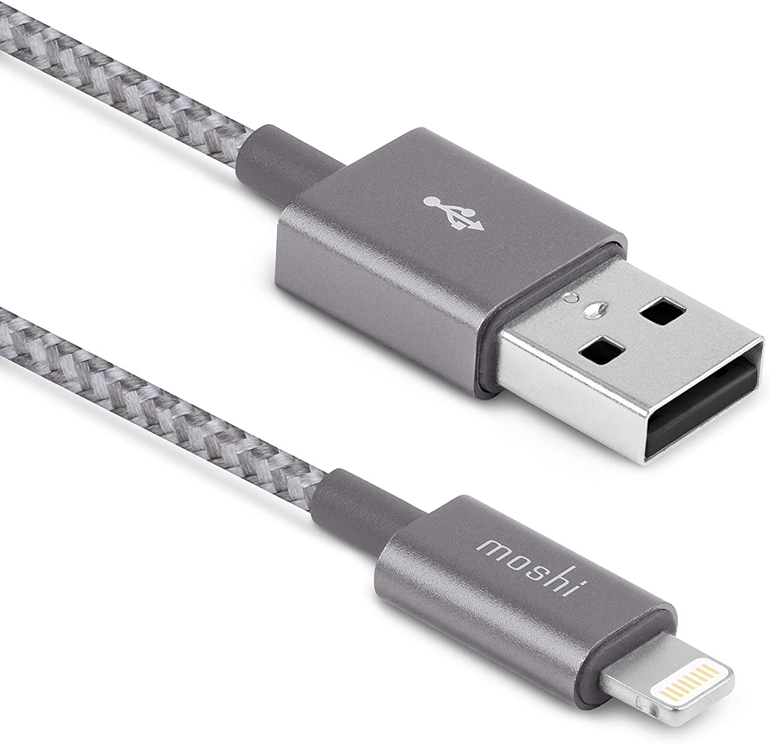 Moshi Integra USB-A to Lightning Cable 4 ft/1.2m, iPhone Charger, MFi-Certified, Ballistic NylonBraiding, Compatible with iPhone 12, AirPods Pro, iPad, Titanium Gray