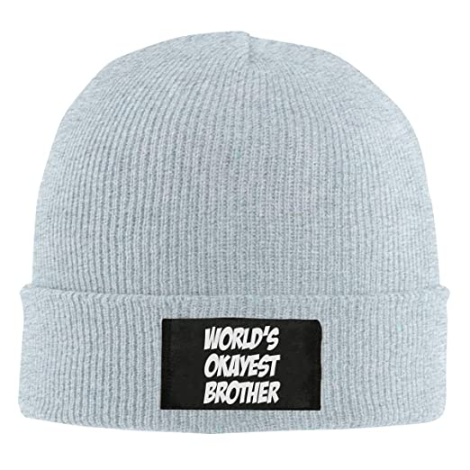 Amazon.com  World s Okayest Brother Wool Knitted Hat Beanie Cap ... 468f3f31e6e
