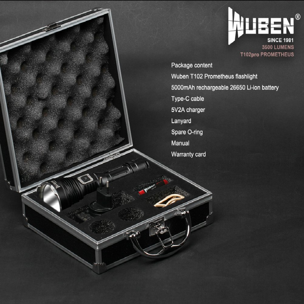 WUBEN T102pro Prometheus 3500 Lumens Flashlight with power indicator high drain battery 26650 by WUBEN (Image #7)