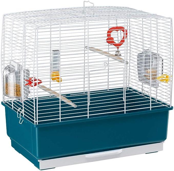 Ferplast Jaula Rectangular para pájaros exóticos y Canarios Rekord 3, con Accesorios y comederos giratorios, Robusto Alambre Pintado Blanco y cubeta de plástico Azul, 49 x 30 x h 48,5 cm