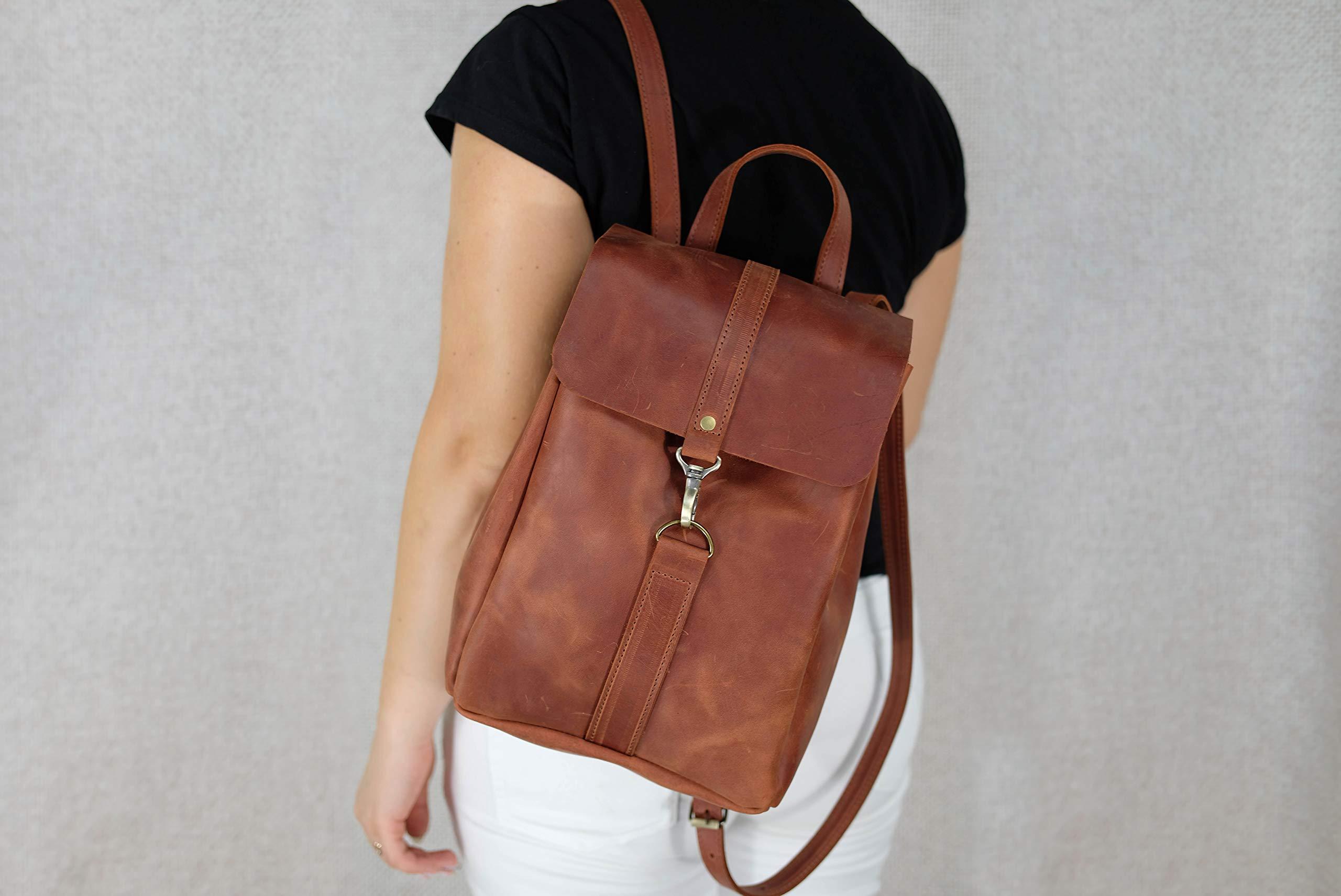 Women leather backpack, Brown backpack, Women shoulder bag, Drawstring backpack, Minimalist leather vintage rucksack Personalized Monogram 9 x 12.6 inch