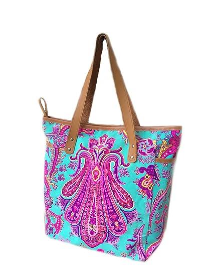 61b4ebfb9aa8 Amazon.com : BOHOPeach Summer Large Tote Canvas bag Colorful Neon ...