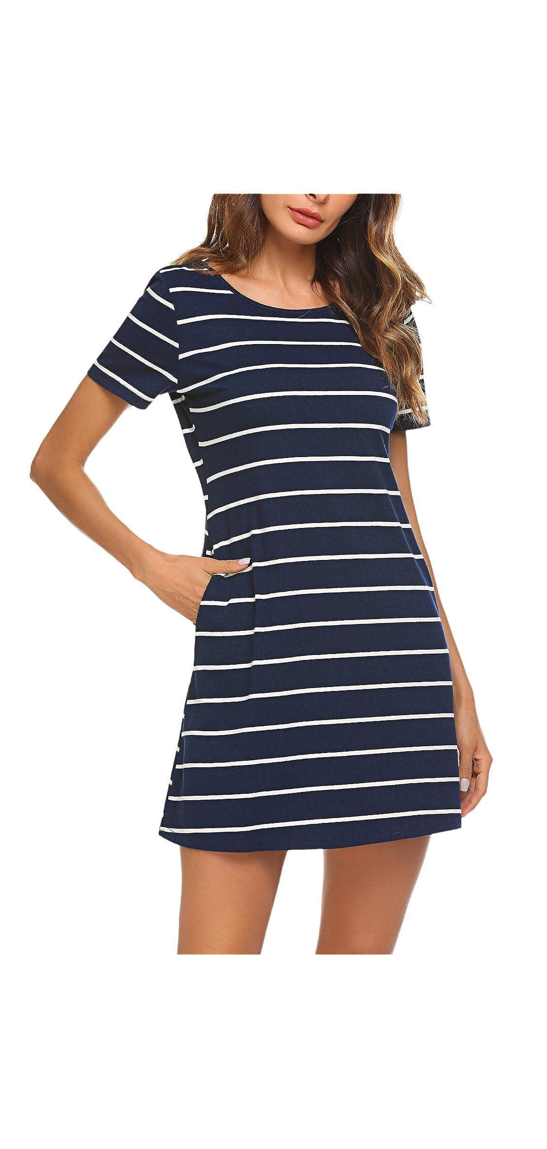 Women's Casual Striped Criss Cross Short Sleeve T Shirt