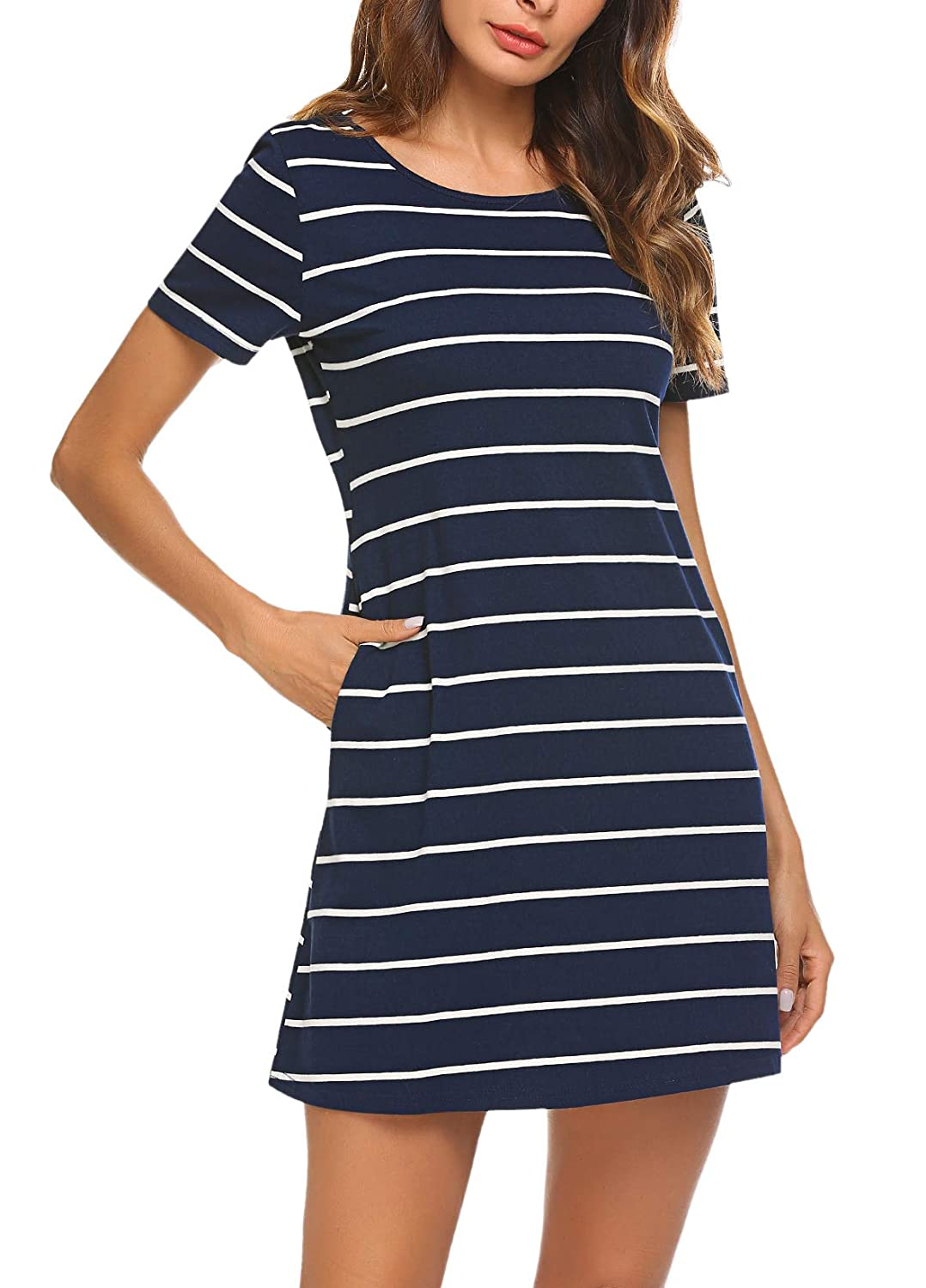 7f1d45bf34ec Feager Women's Casual Striped Criss Cross Short Sleeve T Shirt Mini Dress  with Pockets at Amazon Women's Clothing store: