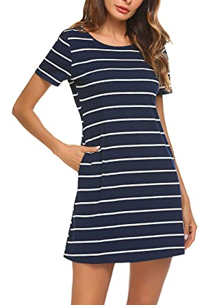 3a9743943251 Feager Women's Casual Striped Short Sleeve T Shirt Mini Dress with Pockets  (XS, Blue