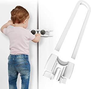 Cabinet Handle Locks (8-Pack) 5 1/4 Inch by Skyla Homes - Multi-Purpose Child Safety Lock, Hassle Free, Best for Baby Proofing, Strong ABS Free Plastic Knob Cover, Baby Proof