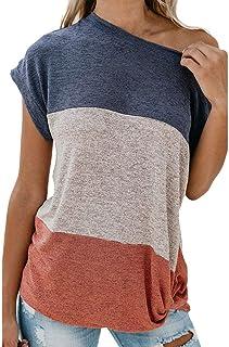 HIRIRI Womens Tops Crop Top Short Sleeve Shirts O-Neck Color Block Tees for Women T-Shirt
