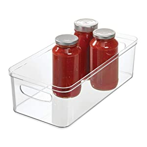 """iDesign Crisp Fridge and Pantry Storage Handles, Container for Food, Drinks, Produce Organization, BPA-Free, 16"""" x 8"""" x 5"""", Large Bin"""