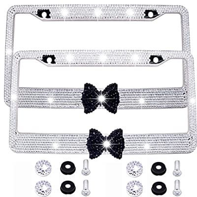 Bling Bling License Plate Frames -2 Pack-8 Row Pure Handmade Waterproof Glitter Rhinestones Crystal License Frames Plate for Cars with 2 Holes with Screws Caps Set (White & Black Bowtie): Automotive [5Bkhe2006228]
