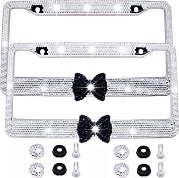 Black 7 Rows Crystal Rhinestone License plate frame Women Car Bling Black Bow