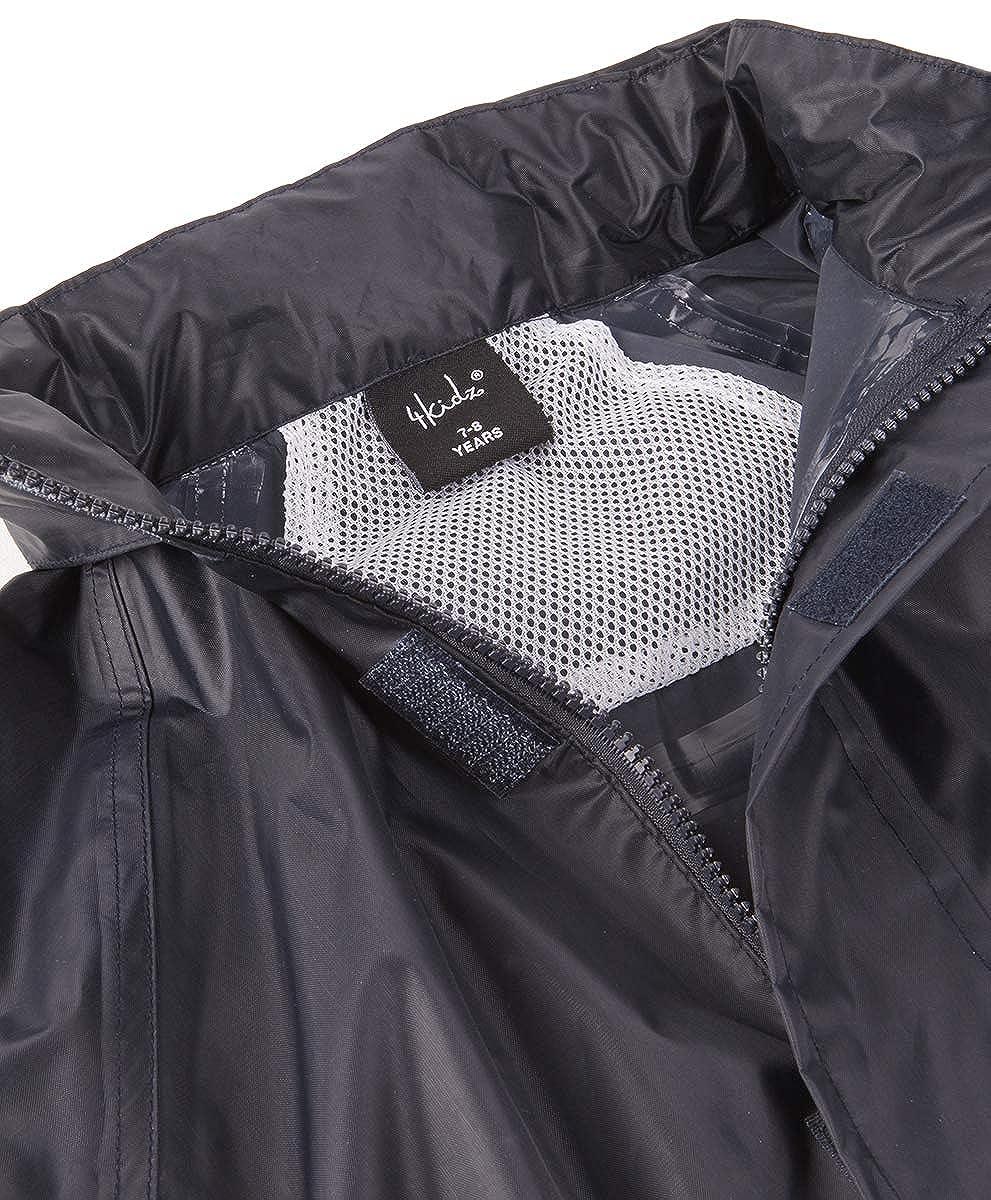 4Kidz Kids Waterproof Jacket /& Pants Childrens Rain Suit Set