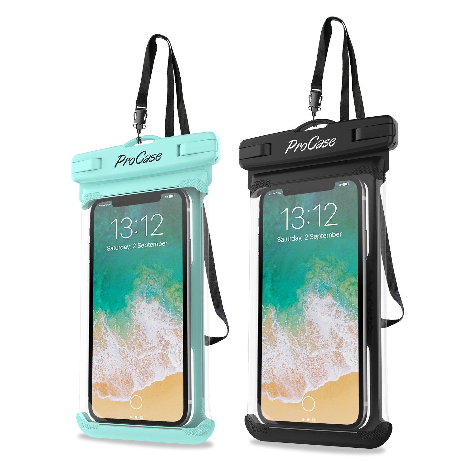 ProCase Universal Waterproof Case Cellphone Dry Bag Pouch for iPhone Xs Max XR XS X 8 7 6S Plus, Galaxy S10 Plus S10 S10e S9+/Note 10 10+ 5G 9 8, Pixel 3 XL up to 6.8'' - 2 Pack, Green/Black by ProCase