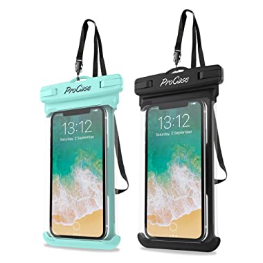 ProCase Universal Waterproof Case Cellphone Dry Bag Pouch for iPhone 11 Pro Max Xs Max XR XS X 8 7 6S Plus, Galaxy S10 Plus S10 S10e S9+/Note 10 10+ 5G 9 8, Pixel 4 XL up to 6.8  - 2 Pack, Green/Black