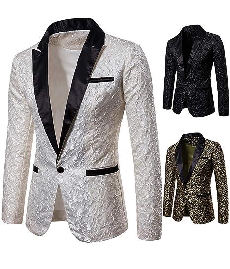 Les Hommes Brillants Luxe Robe Costume Costume Veste Slim fit Manteau  Revers Smoking Blazer Partie( 450339d2f1f