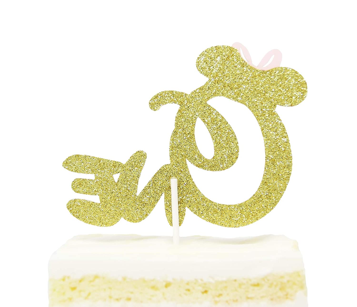 Amazon First 1st One Year Birthday Cake Topper Gold Glitter