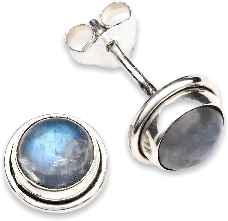 Pendientes de plata 925 con Piedra de luna 8 mm8 mm (No: MOS 48)