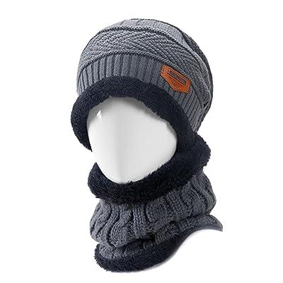 Bonnet Garcon 2 PCS Unisexe Hiver Tricot Chapeau Et Cou Écharpe Chaude Set Hommes Femmes Épais Tricoté Cap Skull Beanie Chapeau Écharpe Chaude®Beetest