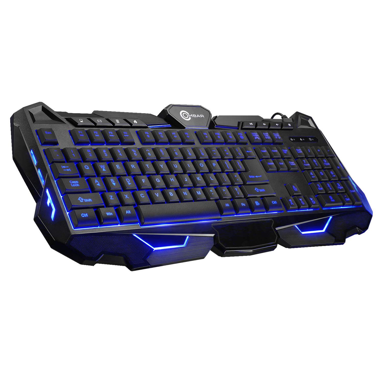 Ombar K617 Backlit LED Keyboard 104 Keys USB Wired Mechanical Gaming Keyboard, LED Backlit Multimedia Controls,Wrist Rest Black