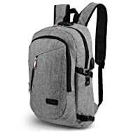 ONSON Anti Theft Business Laptop Backpack with USB Charging Port,Water Resistant Backpack for Men&Women,Fits 15.6 inch and Below Laptop/Notebook(Grey)