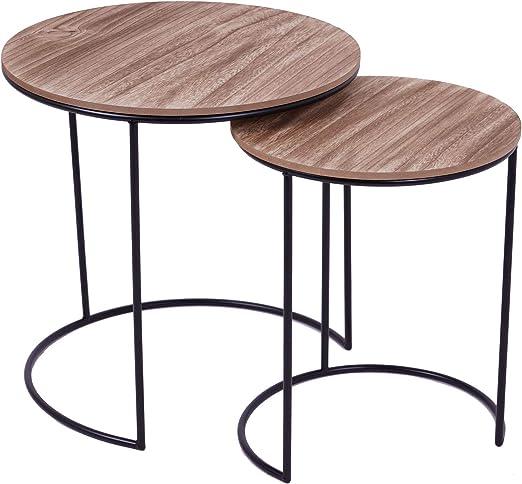 Mesa auxiliar de metal negro con tablero de madera – Juego de 2 ...