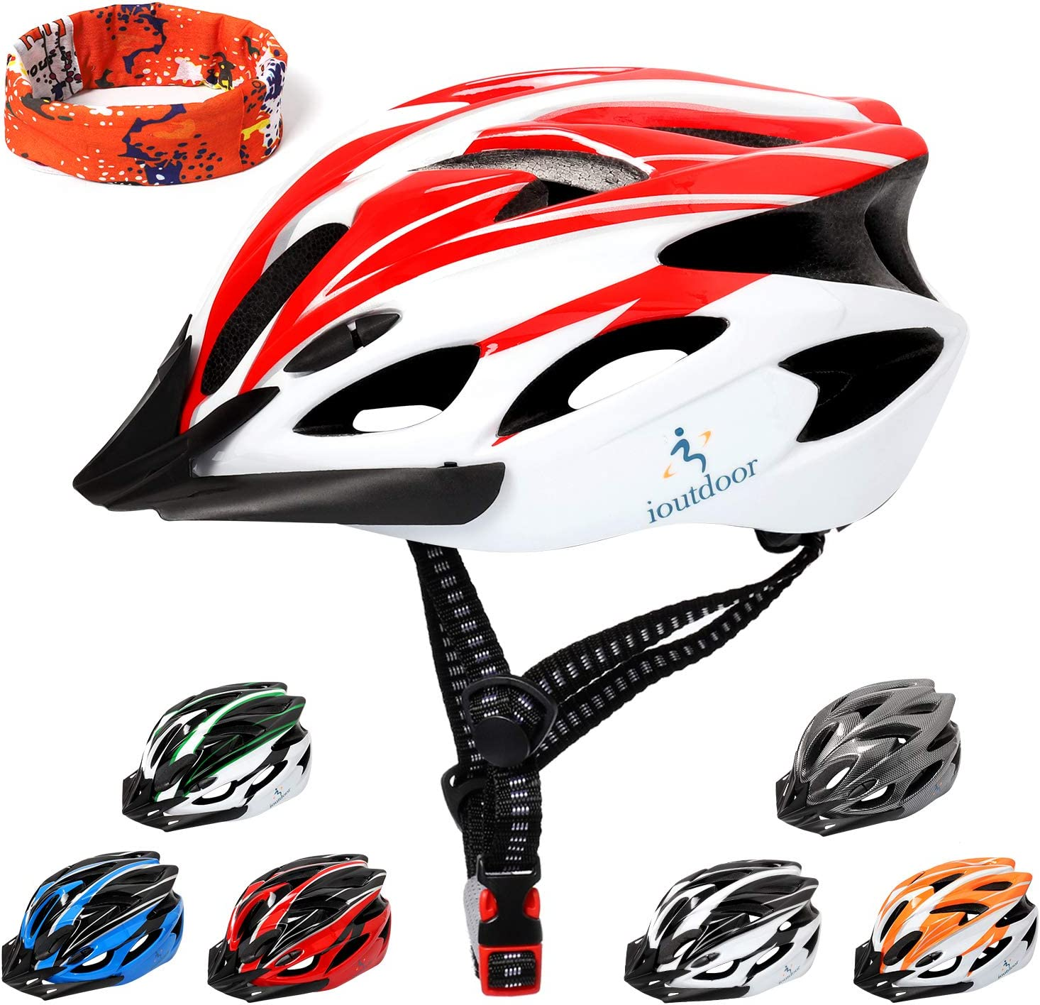 ioutdoor Lightweight Adult Bike Helmet, CE Certified Cycling Helmet with Sports Headband, Dial-Fit Adjustable Mountain Bike Helmet for Men Women,7 Colors for Choice