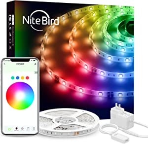 Smart LED Strip Lights Works with Alexa Google Home, NiteBird 16.4Ft WiFi App Controll Light Strips, Music Sync RGB 5050 Brighter 16 Million Colors, Waterproof, 3M Adhesive
