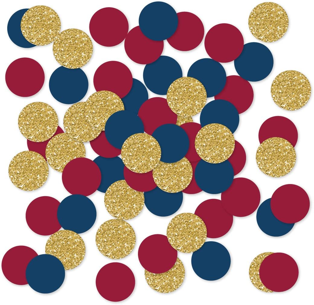 Andaz Press Large Confetti Party Table Decor, 1.5-inch Double-Sided, Burgundy, Navy Blue, Faux Gold Glitter, 180-Pack, Jewel Autumn Theme Colored Supplies