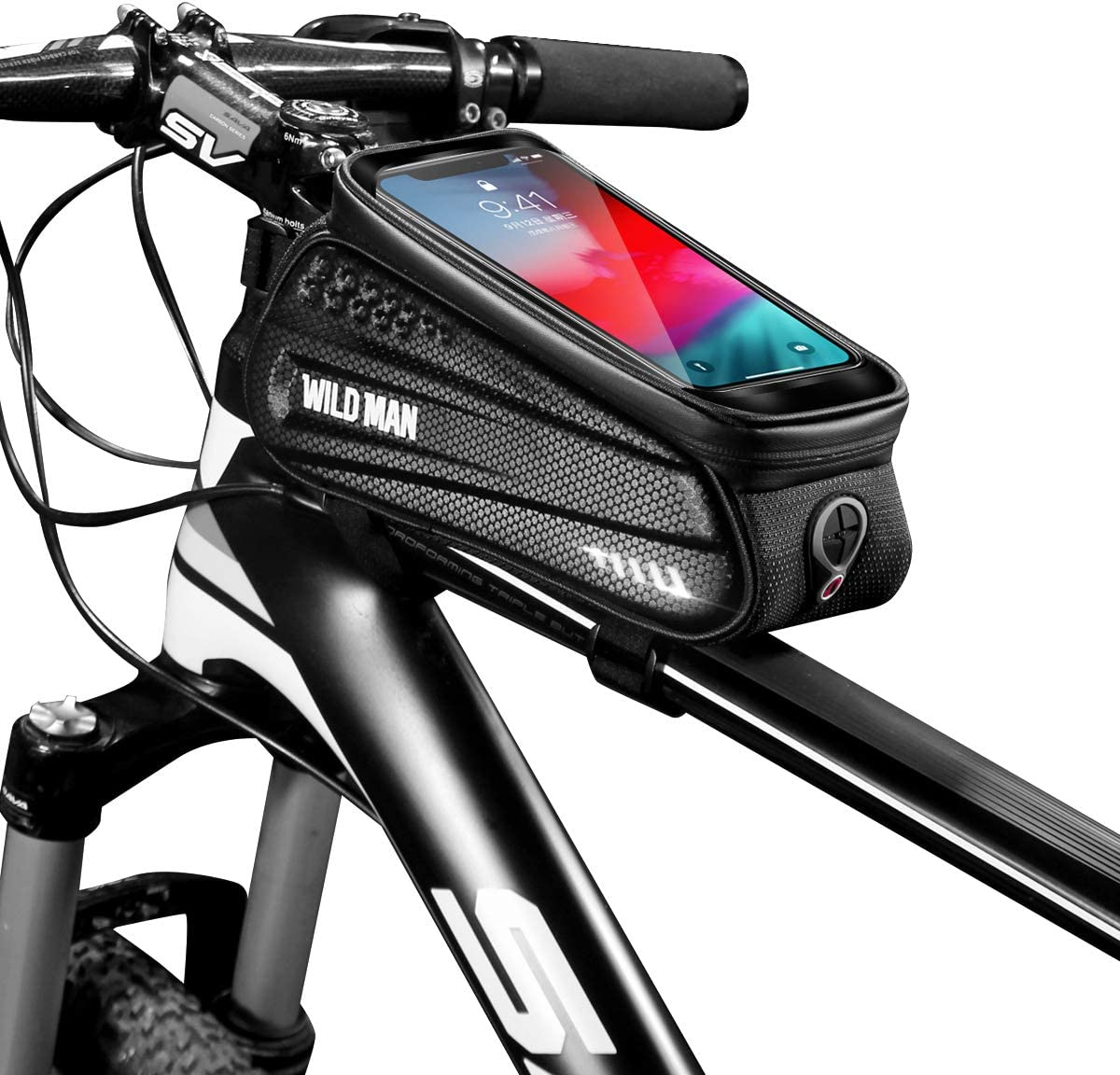 Epessa Bike Phone Mount Bag, Bicycle Waterproof Front Frame Top Tube Handlebar Bag with Sensitive Touch Screen for Cellphone Below 6.5'',Large Capacity
