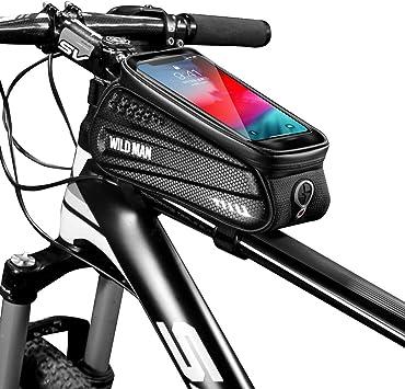 BWBIKE - Bolsa rígida para bicicleta de montaña, pantalla táctil, soporte para teléfono móvil de hasta 6,5