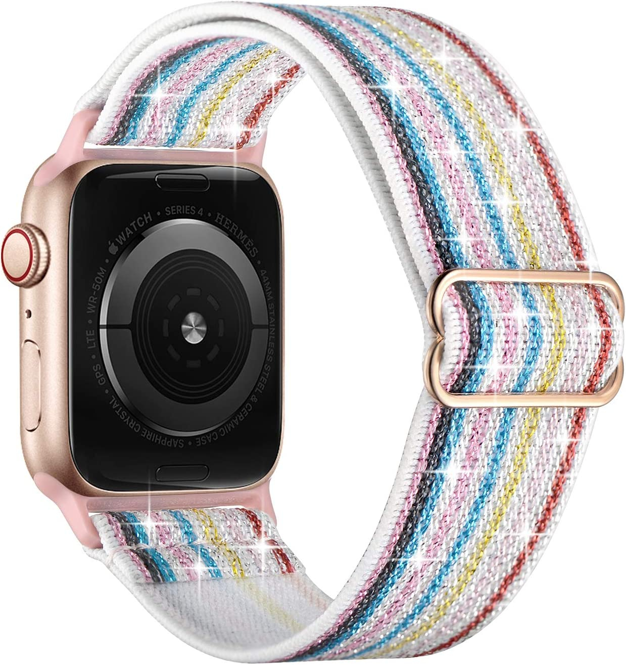 OXWALLEN Sparkly Stretchy Elastic Solo Loop Compatible with Apple Watch Bands 38mm 40mm, Adjustable Braided Sport Nylon Women Strap for iWatch SE Series 6/5/4/3/2/1,White Rainbow