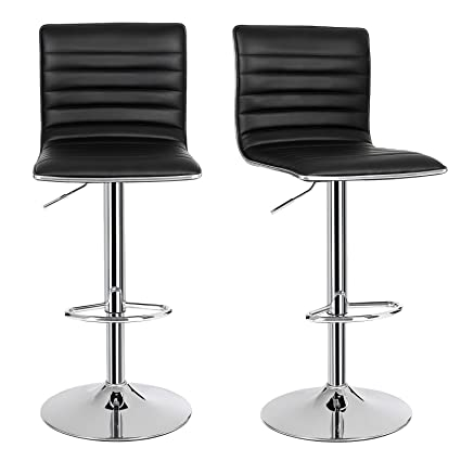 SONGMICS 2 X Breakfast Bar Stools With Backs PU Kitchen Stools 360° Swivel  Black ULJB65B