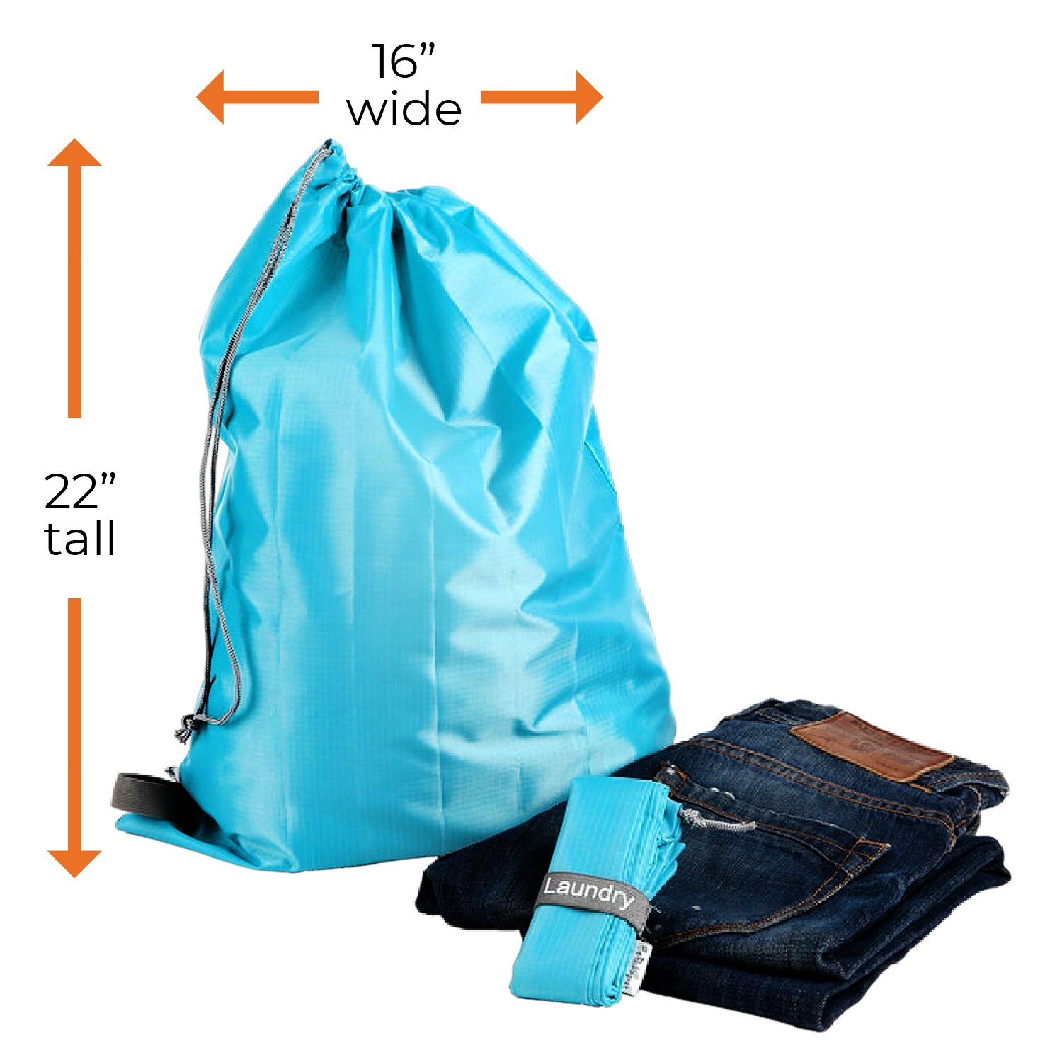 """39bb40ea1eca EzPacking Travel Laundry Bag with Drawstring/Foldable Compact Lightweight  Small Travel Size for Suitcase / (22"""" X 16"""") / Clean Dirty Clothes Wash ..."""