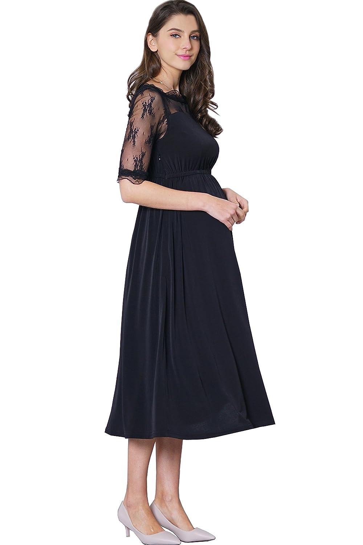 Sweet Mommy DRESS レディース B07B4BFLY3  Black_short Sleeve Large