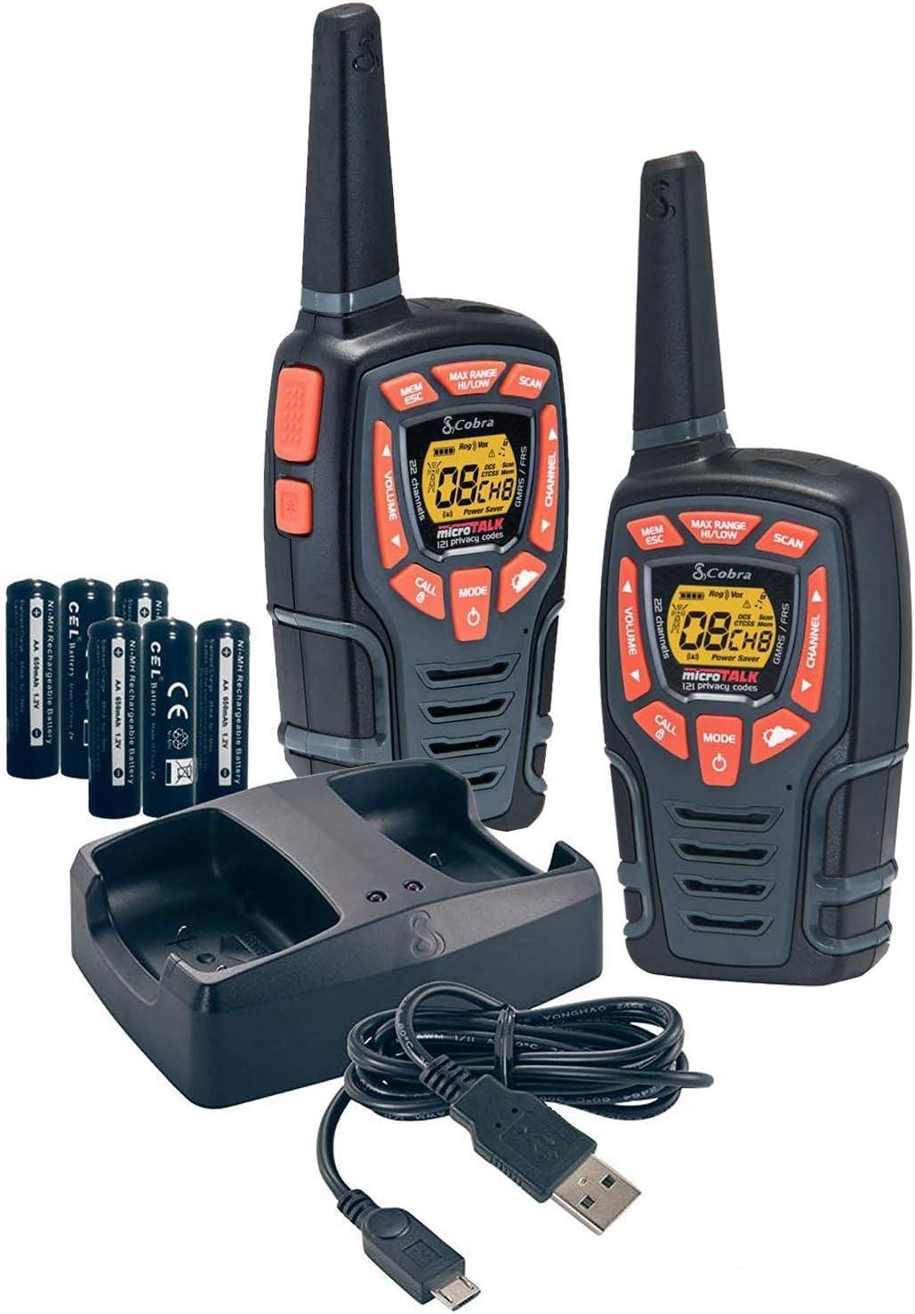 Cobra MicroTalk CX116A 18-Mile 2-Way Walkie Talkie Black CB Radios