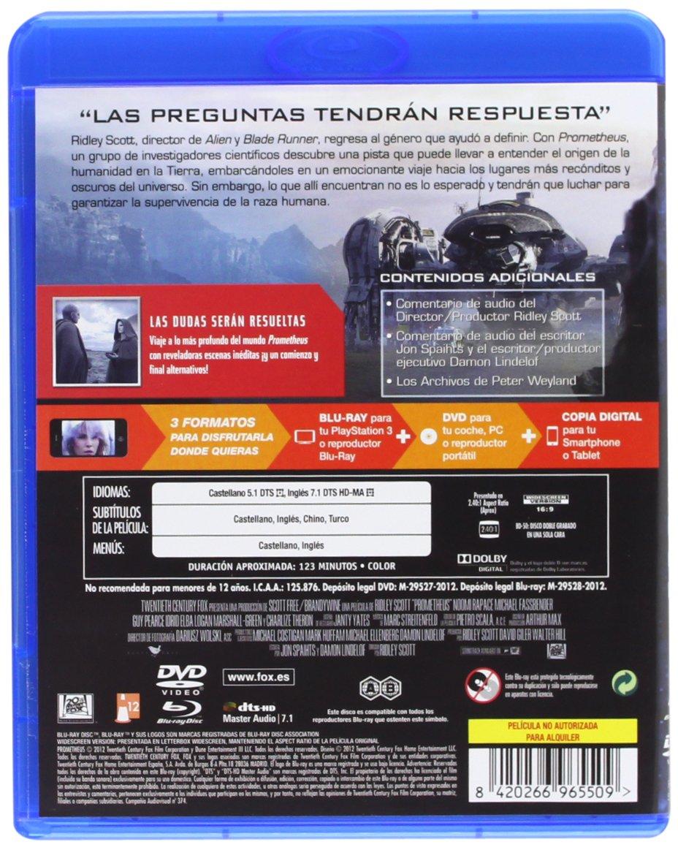 Amazon.com: Prometheus (Blu-Ray + Dvd + Copia Digital) (Blu-Ray) (Import Movie) (European Format - Zone B2) (2012) Noomi R: Movies & TV