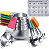 Measuring Cups, U-Taste Magnetic Measuring Cups and Spoons Set of 13 in 18/8 Stainless Steel: 7 Measuring Cups and 5 Measurin