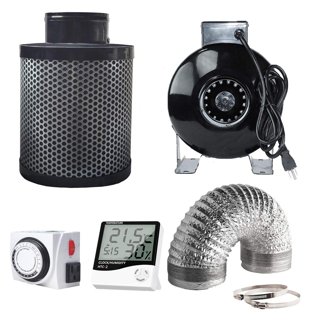 cdmall 4'' Inline Fan Carbon Filter Ducting Combo + Variable Fan Speed Controller + Hygrometer Thermometer + 24 Hour Timer Outlet for Hydroponic Grow Tent Ventilation System (4'' Ventilation Kit) by cdmall