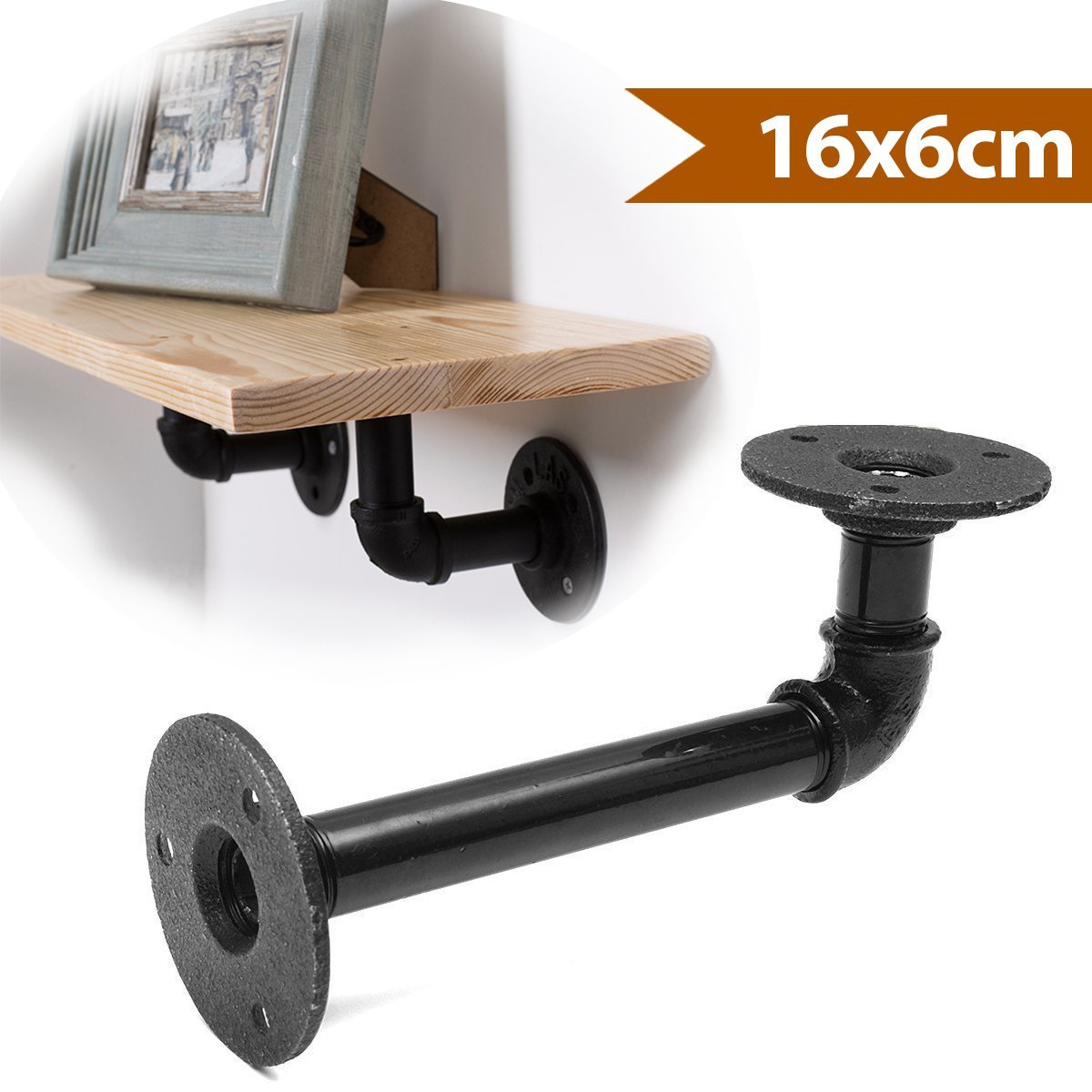 KINGSO 16x6cm Industrial Pipe Shelving Brackets Hardware Support Rustic Hanging Wall Mount Heavy Duty Farmhouse with Screw 1PC Only