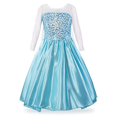LEHNO Elsa Costume for Girls Elsa Dress Up Sequined Princess Party Dress for Halloween: Clothing