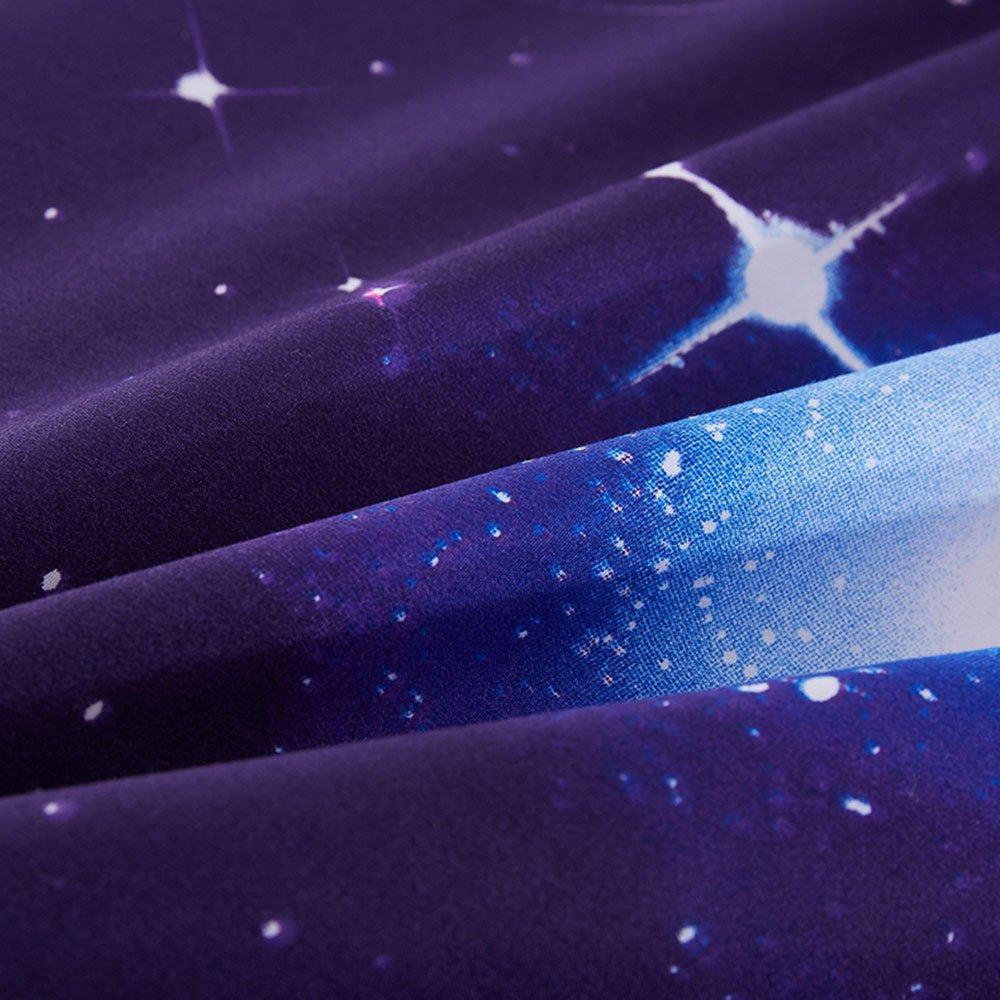 Duvet Cover Set, Star Cosmic Galaxy dark blue, Soft Microfiber Bedding with Zipper Closure(4pcs, King Size) by Cloud Dream (Image #4)