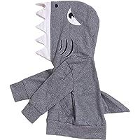 Happy Town Toddler Unisex Baby Boy Girl Shark Hoodies Hooded Sweatshirt with Pockets & Shark Fin (Gray 1-2 Years)