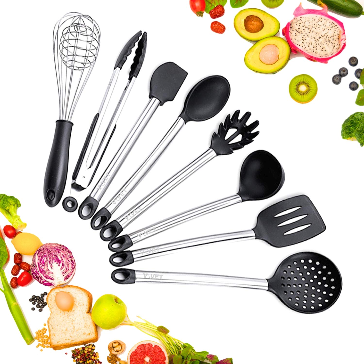8 Piece Kitchen Utensil Set: Utensils for Cooking - Silicone Spatula Sets for Adults - Stainless Steel Handle - Tools and Gadgets - Spatulas and Spoons for Cookware - No Holder Required - Non Stick
