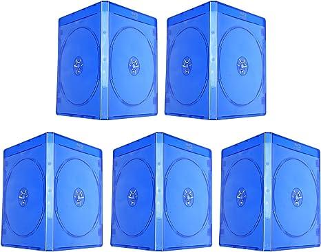 5 unidades Blu Ray Logo 10 mm vacío estuche doble disco CD DVD BD almacenamiento, color azul caja de plástico suave transparente funda: Amazon.es: Electrónica