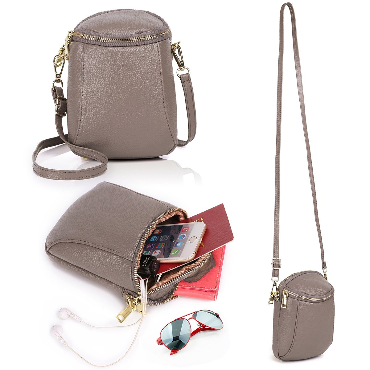 Zg Girls Women 100% Real Leather Small Cute Crossbody Cell Phone Purse Wallet Bag